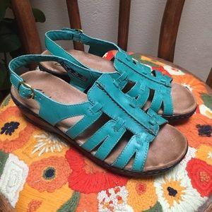 CLARKS Tige De Cuir Turquoise Leather Sandals 7